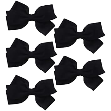 473b23511a10 Amazon.com   Black Large Suede Scuba Hair Bow For Girls - Set of 5   Beauty