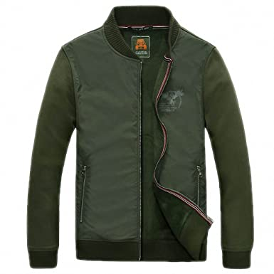 Mens Autumn Winter Jacket Casual Stand Collar Windbreaker Fleece Coat Male Plus Size M-3XL