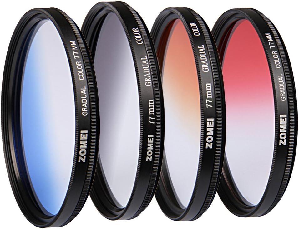 ZOMEI 77mm Pro Gradual Neutral Density Lens Filter ND Color Kit - Red Blue Orange Grey