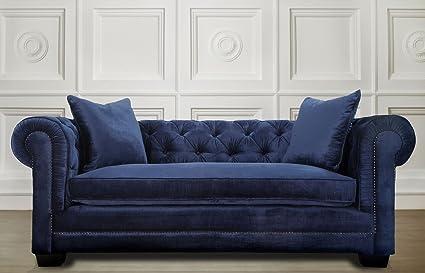 TOV Furniture Norwalk Velvet Sofa, Navy
