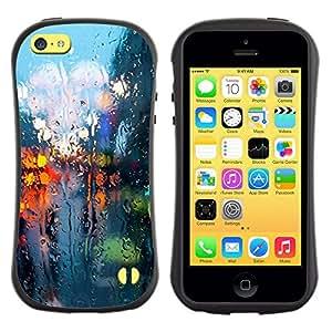 LASTONE PHONE CASE / Suave Silicona Caso Carcasa de Caucho Funda para Apple Iphone 5C / Rainy Street Lights Reflection City Somber Spring