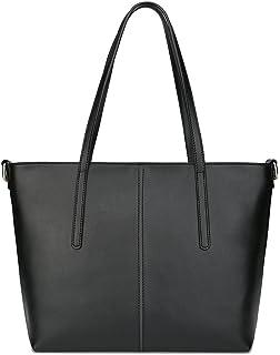 Ilishop Women s New Fashion Handbag Genuine Leather Shoulder Bags Tote Bags  Hot Sale (Black- 81743d0c44487