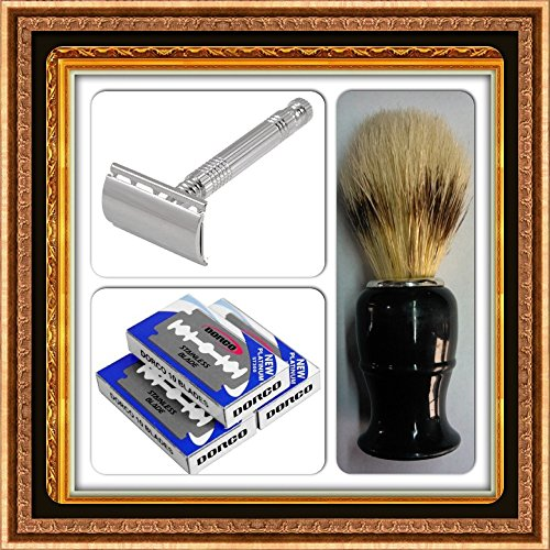 Price comparison product image Want a Trendy Option for an Elegant Gift, a Classy Shaving Combo Kit of Gillette Patent Weishi Chrome Plated Double Edge Razor+100blades+shaving Brush Is Just Te Idea You Are Looking For