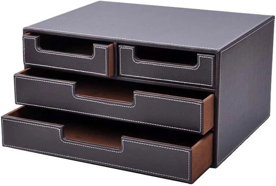UnionBasic Multi-Functional PU Leather Desk Organizer File Cabinet Office Supplies Desktop Storage Organizer Box with Drawer (Plain Coffee (4-Drawer))