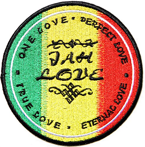 JAH LOVE ONE LOVE TRUE LOVE The Lion of Judah Rasta Rastafari Jamaica Reggae Logo Jacket T shirt Patch Sew Iron on Embroidered Badge Sign (Psychedelic Elephant Baby Costumes)
