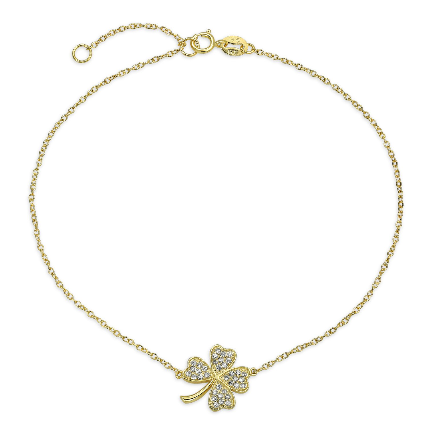 Bling Jewelry Gold Plated 925 Silver CZ Clover Shamrock Ankle Bracelet 9in PFS-54-0521G