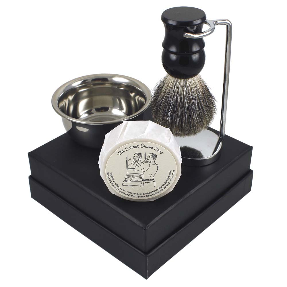 Classic ''Old School'' Shave Soap Men's Grooming Gift Set with Chrome Stand, Stainless Lather Bowl & Badger Hair Brush for Wet Shave