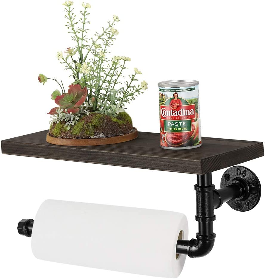 BTY Industrial Paper Towel Holder Wood & Pipe Floating Shelf Vintage Hand Roll Paper Towel Holders Stand Wall Mounted Toilet Paper Storage Rack for Bathroom, Kitchen, Washroom(Black)