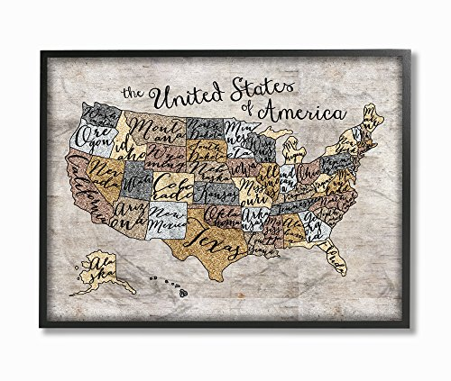 The Kids Room by Stupell United States Map Typography Art 11 x 14