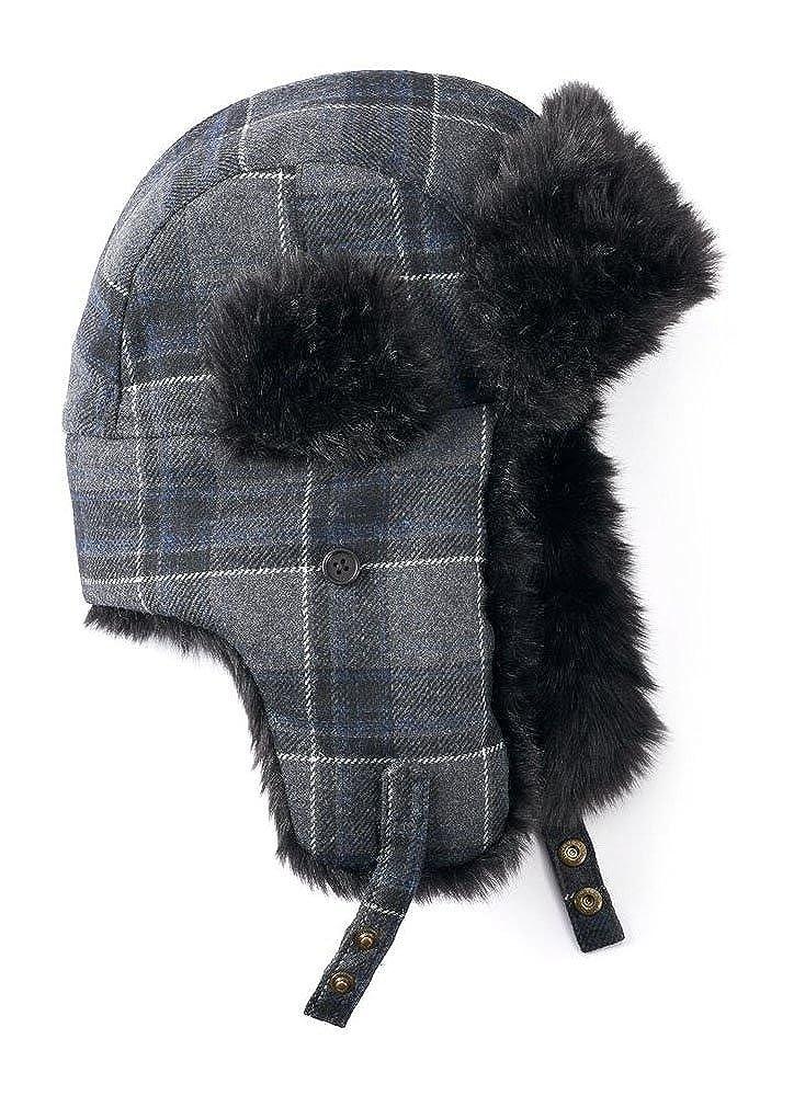 ef1b704c2239d Apt 9 Men s Grey Plaid Wool-Blend Trapper Hat One Size at Amazon Men s  Clothing store