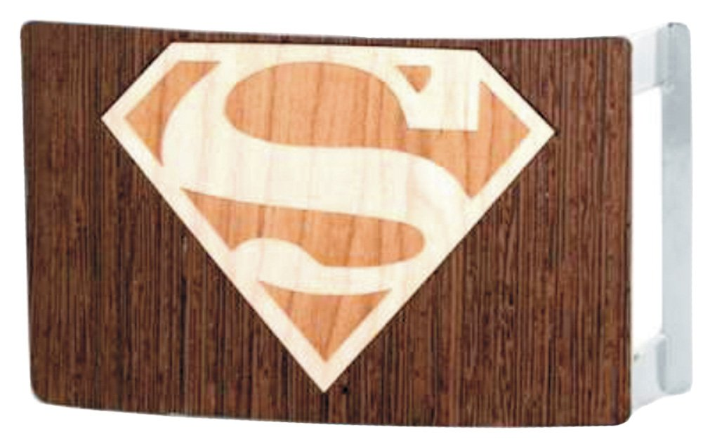 Superman DC Comics Superhero Wood Shield Logo Rockstar Belt Buckle Buckle Down