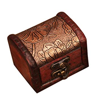 Amaping Vintage Handmade Wood Flower Carving Small Cash Box With Key Lock Wooden Money