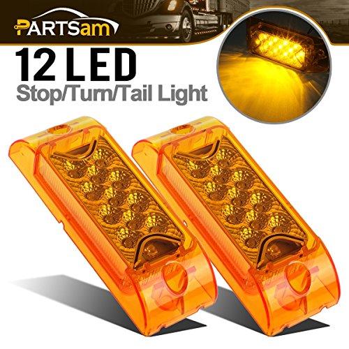 Partsam PAIR 6 Amber LED Reflective Rectangle Clearance Side Marker Light Trailer 13LED, 6x2 trailer lights, Faceted led marker lights
