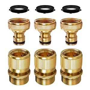 SANCEON Garden Hose Quick Connect, 3 Sets (6PCS) 3/4 inch GHT Solid Brass No-Leak Garden Hose Connector Fitting, Easy Connect and Release Adapter Set, Male and Female(3 Pairs)