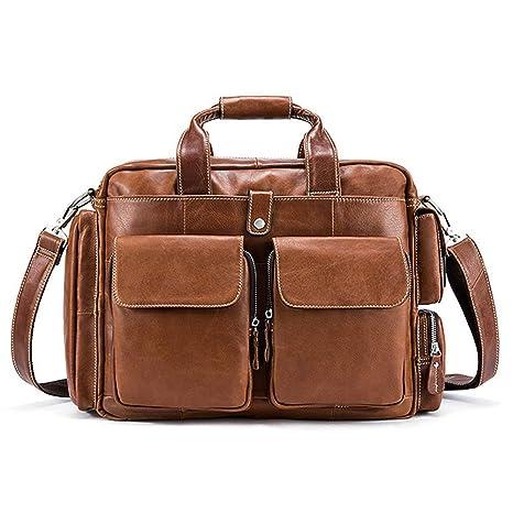 AFCITY maletín para Ordenador portátil Cartera de Cuero para Hombre Cartera de Viaje para Hombre Cartera