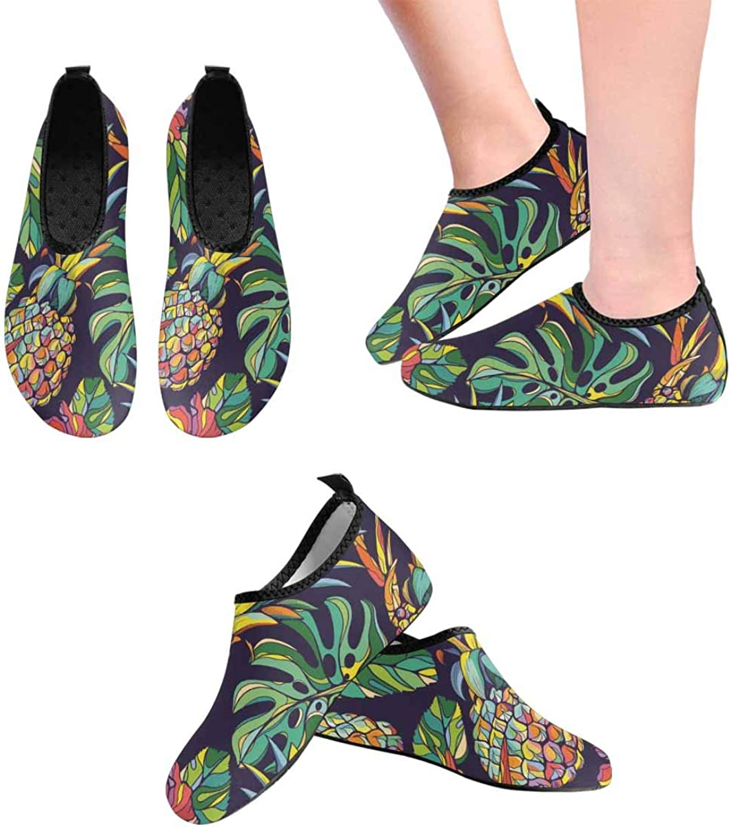 INTERESTPRINT Mens Quick Dry Barefoot Aqua Shoes Colorful Pineapples Pattern Outdoor Beach Swimming Water Socks