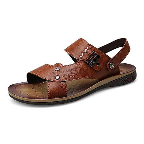 d80e8ba4f Junjiagao Mens Leather Sandals Faux Leather Beach Slippers Casual Non-Slip  Soft Sole Sandals Shoes