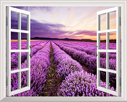 Removable Wall Sticker Wall Mural Lavender Field out of the Open Window Creative Wall Decor
