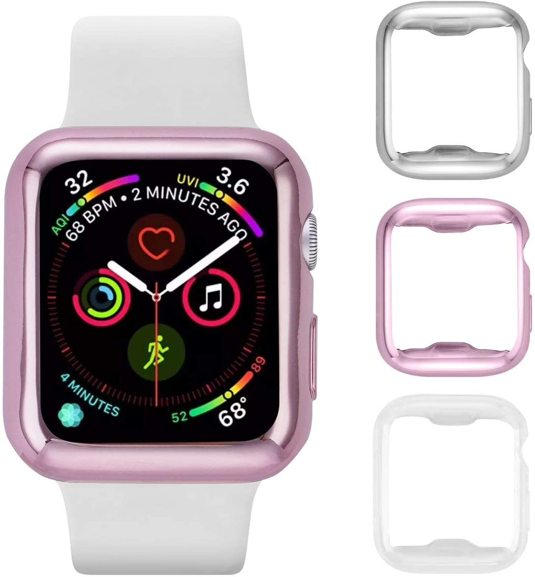 Tranesca Apple Watch case with Screen Protector for 44mm Apple Watch Series 4; 3 Pack (Clear+Sliver+Rose Gold) Does not fit Apple Watch 1,2,3