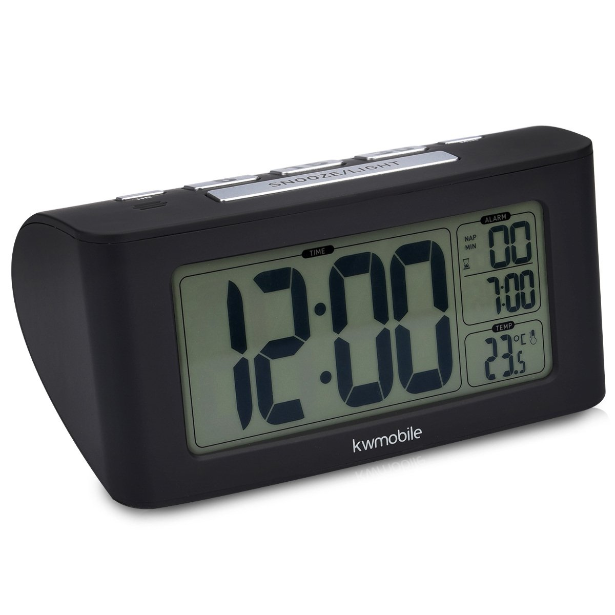 kwmobile Reloj Despertador Digital - Reloj con Temporizador y función de repetición - Indicador de Temperatura y Pantalla LCD Grande en Color Negro: ...