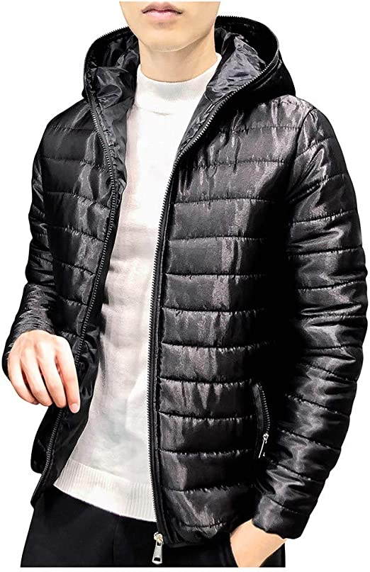 Ankola Men's Lightweight Winter Casual Slim Quilted Puffer Jacket Thin Hooded Parka Coat with Fixed Hood