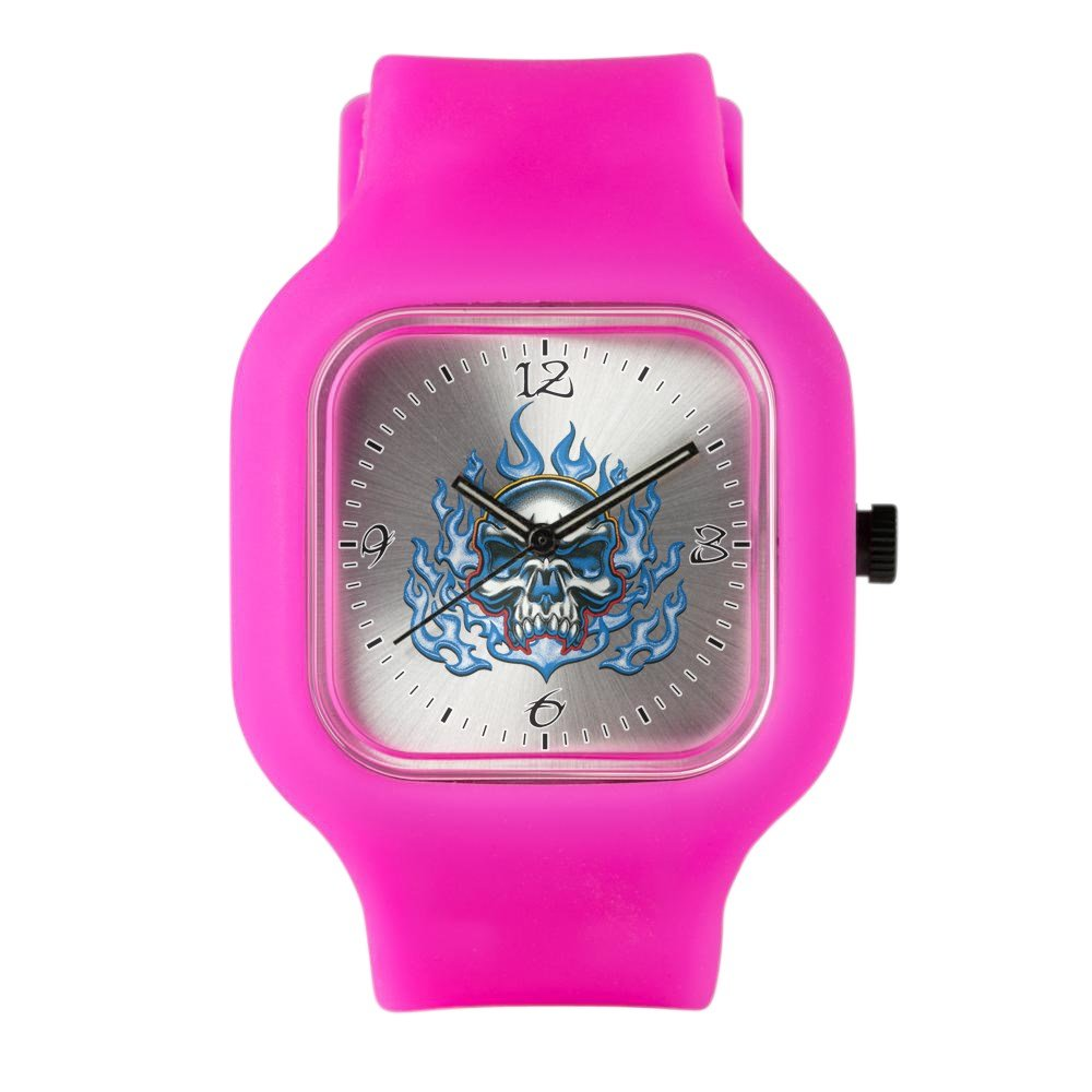 Bright Pink Fashion Sport Watch Skull in Blue Flames