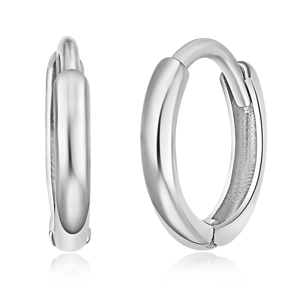 14k White Gold 1.5mm Thickness Huggie Earrings (8 x 8 mm) by GoldenMine Fine Earrings
