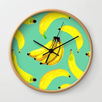 Amazon.com: Society6 Banana Wall Clock Natural Frame, Black Hands ...
