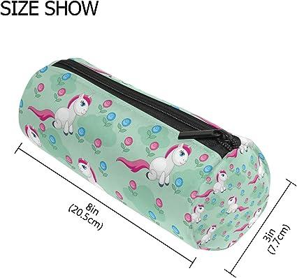 TIZORAX - Estuche de unicornio con cremallera, diseño de flores, color verde: Amazon.es: Oficina y papelería