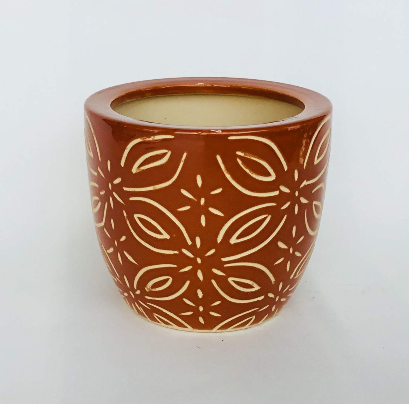 Round Ceramic Pot with Etched Pattern Brown