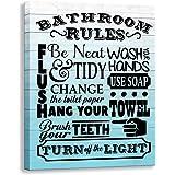 Kas Home Bathroom Canvas Wall Art   Rustic Bathroom Funny Rules Prints Signs Framed   Wood Background Bathroom Laundry Room D