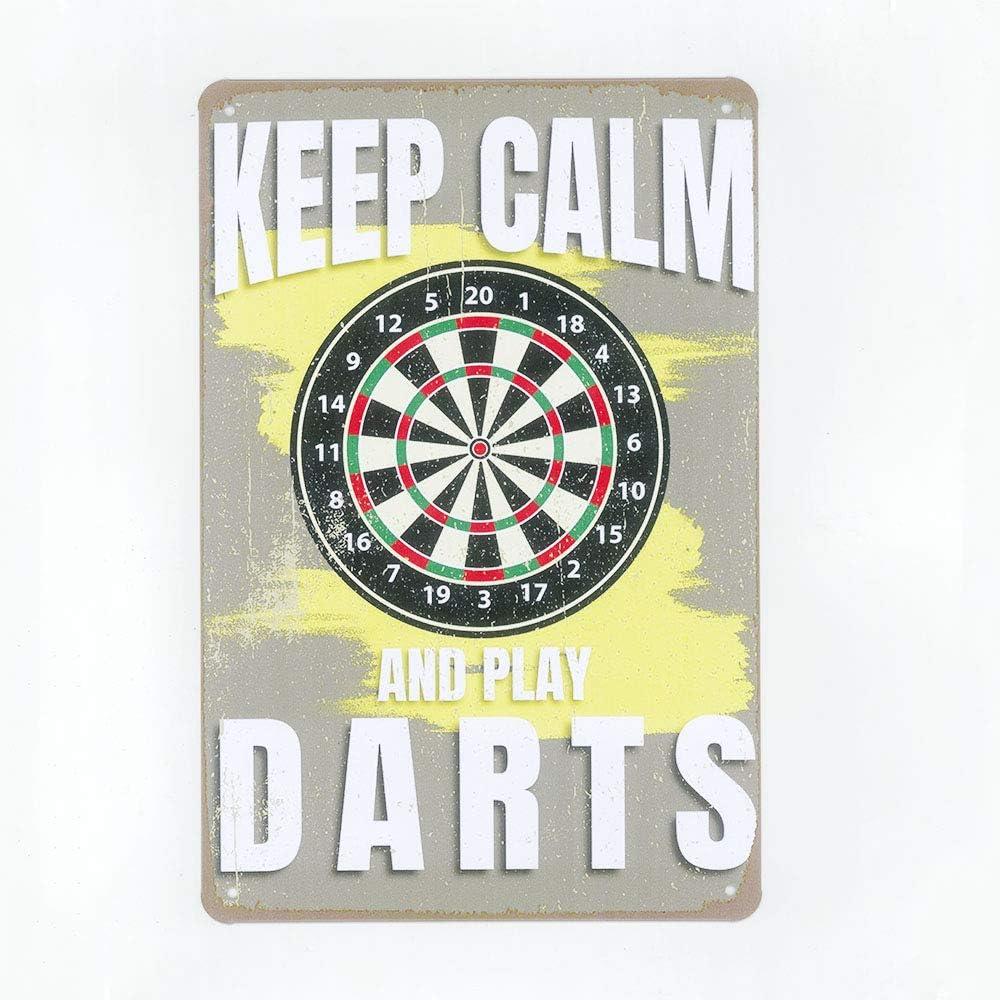N\C Dartboard Dart Home Board Drinks Vintage Style Bar Pub Man Cave Metal Tin Sign 8x12 inch Bar Garage Club Wall Decor