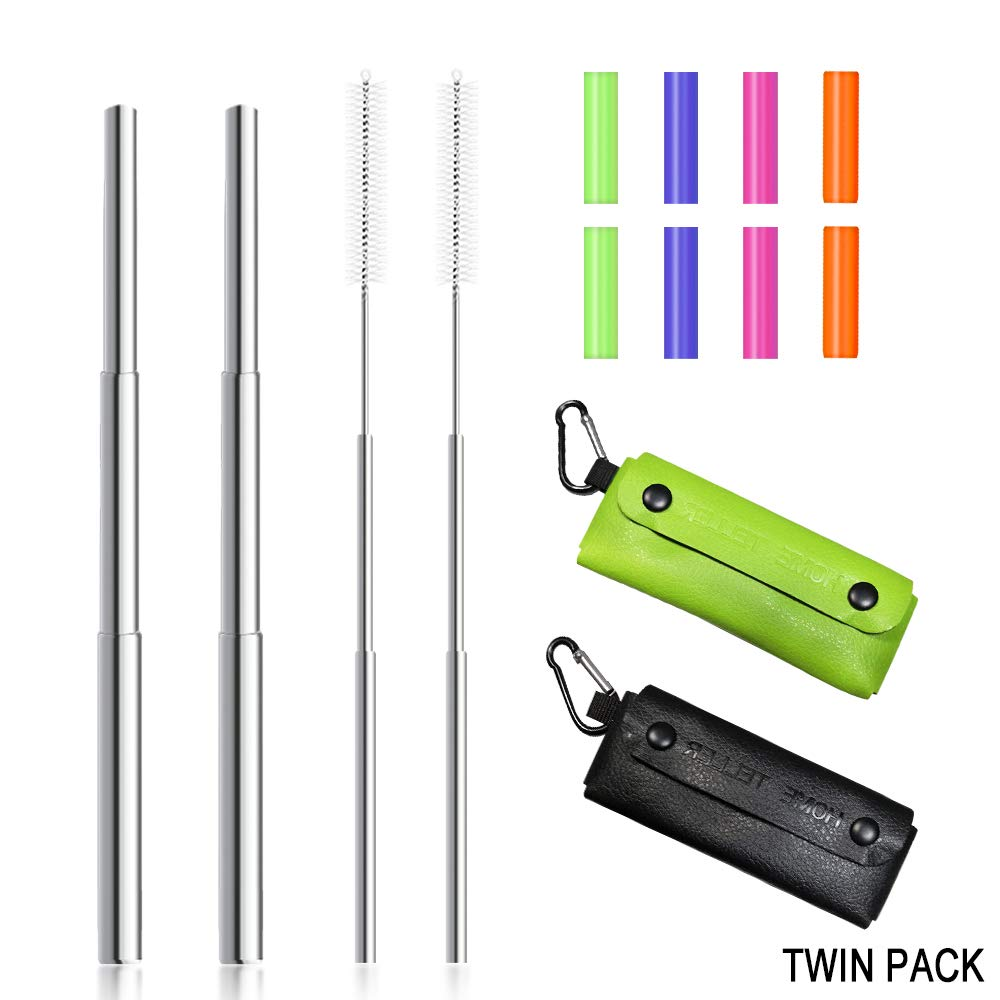 Reusable Straws Stainless Steel Straws Metal Straws Collapsible Straw Portable Straw Foldable Straw Telescopic telescoping Straw with Case Keychain and Cleaning Brush (Twin PU Pack(Black and Green))