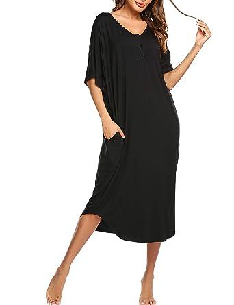 228c74629 Ekouaer Women s Long Sleepshirt Casual O Neck Nightgown Short Sleeve Lounge  Dress with Pockets(Black