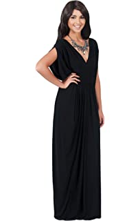 82cd054902 KOH KOH Womens Long V-Neck Summer Sexy Gown Grecian Flowy Sleeveless Maxi  Dress