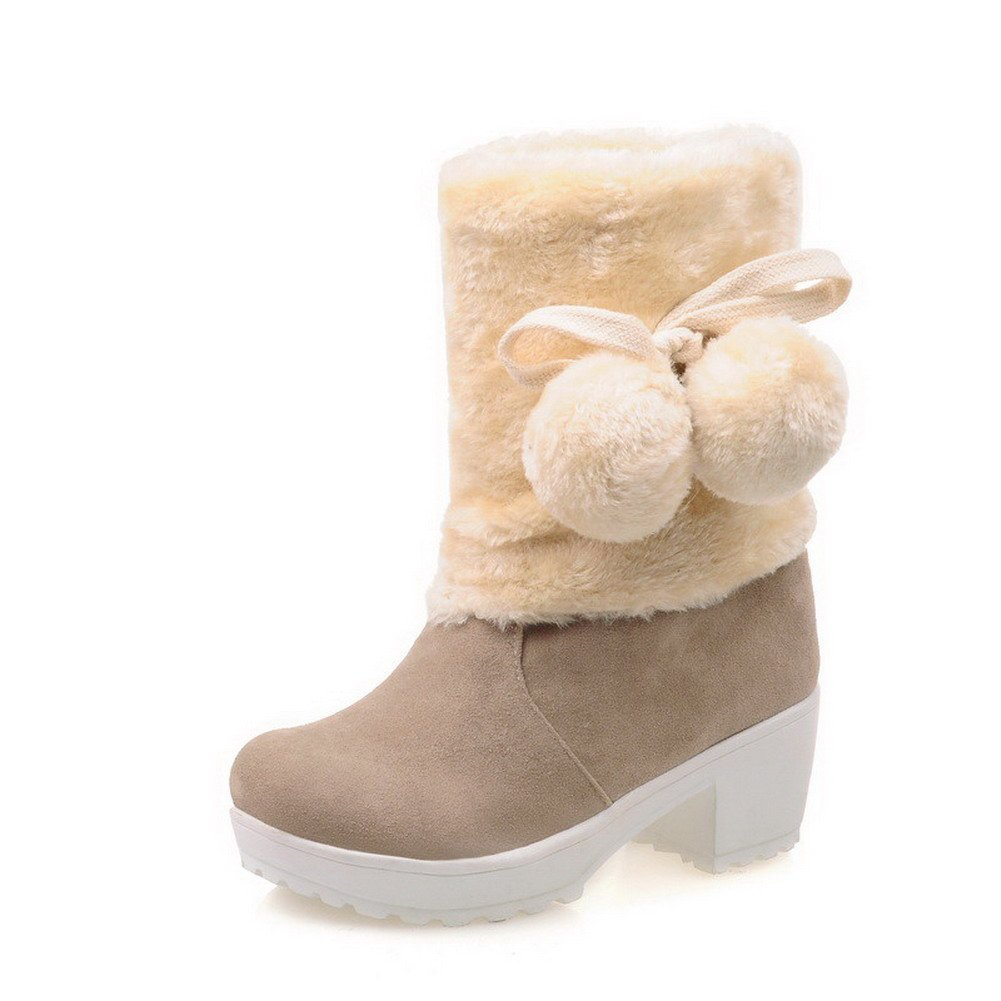 WeiPoot Womens Low-top Pull-on Frosted Kitten-Heels Round Closed Toe Boots