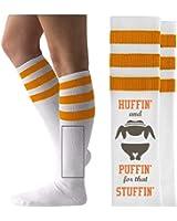 Turkey Trot Huffin': Unisex Striped Knee-High Socks