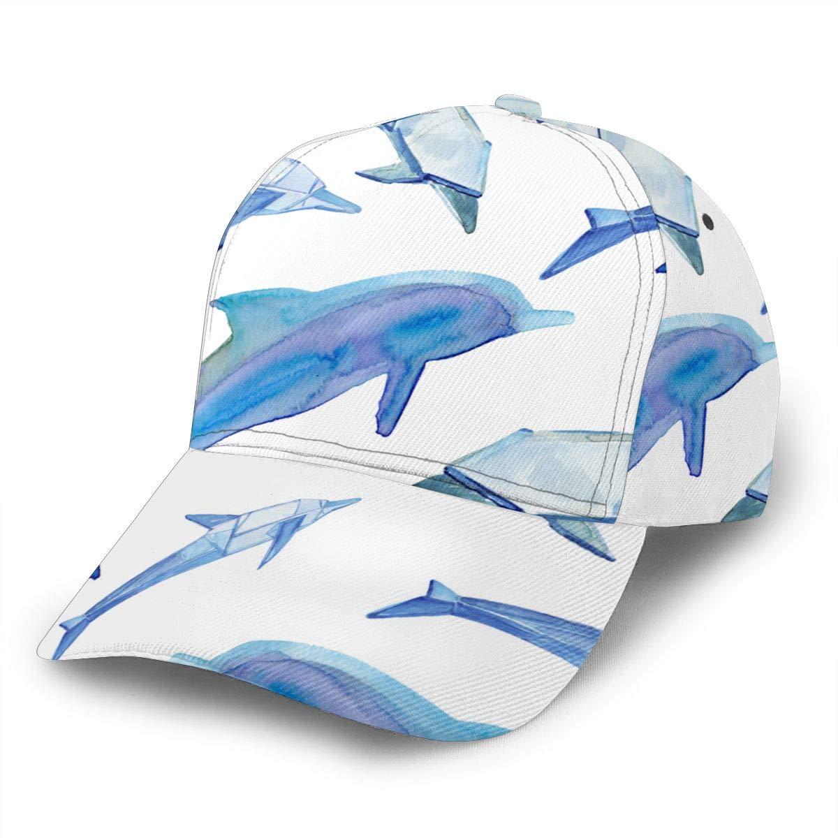 Colorful Dolphins Silhouette Womens Fashion Adjustable Flat Brim Baseball Cap Black
