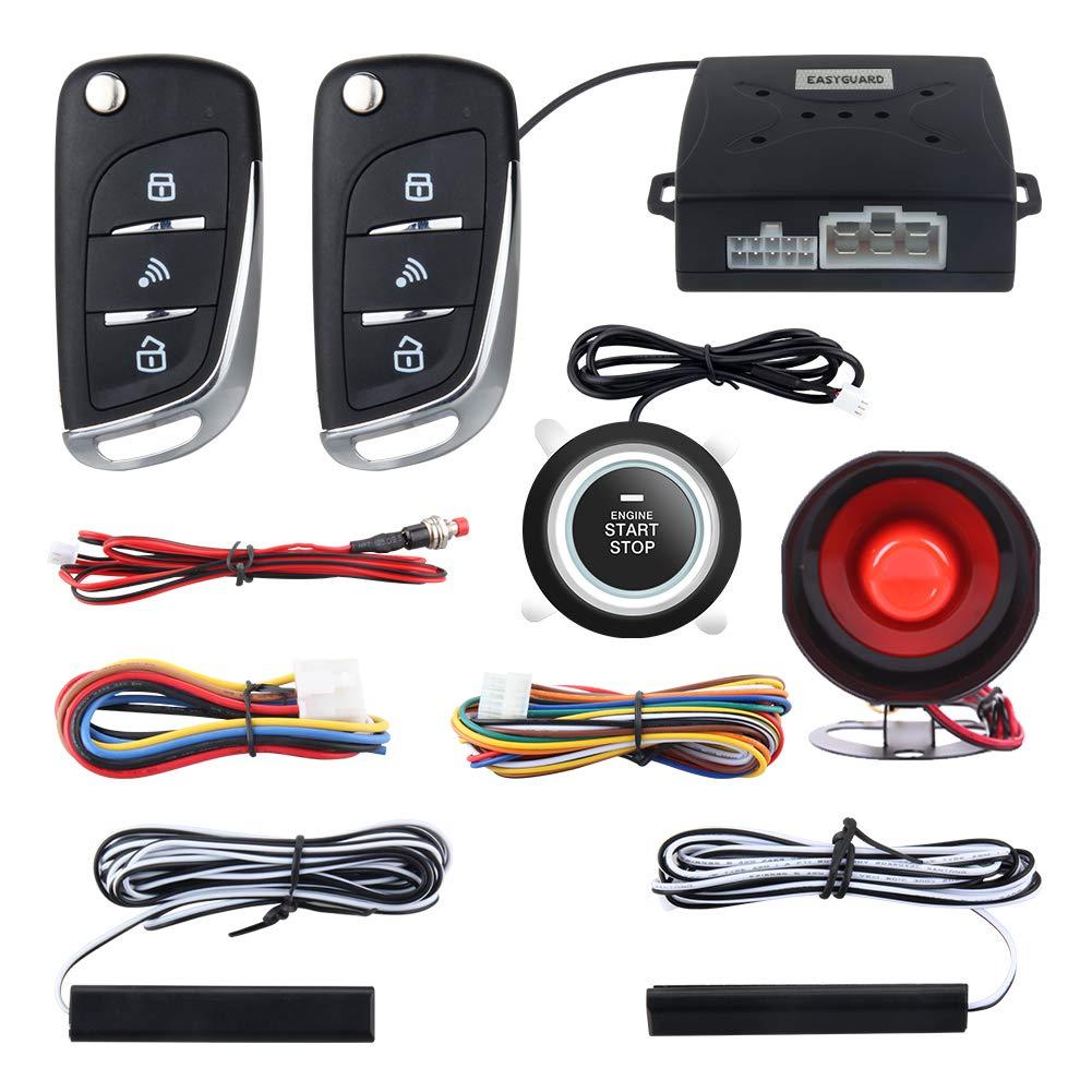 Easyguard EC003N-V Car security alarm system with PKE passive keyless entry remote engine start stop keyless go system universal version DC12V Zhongshan easyguard electronics co. ltd