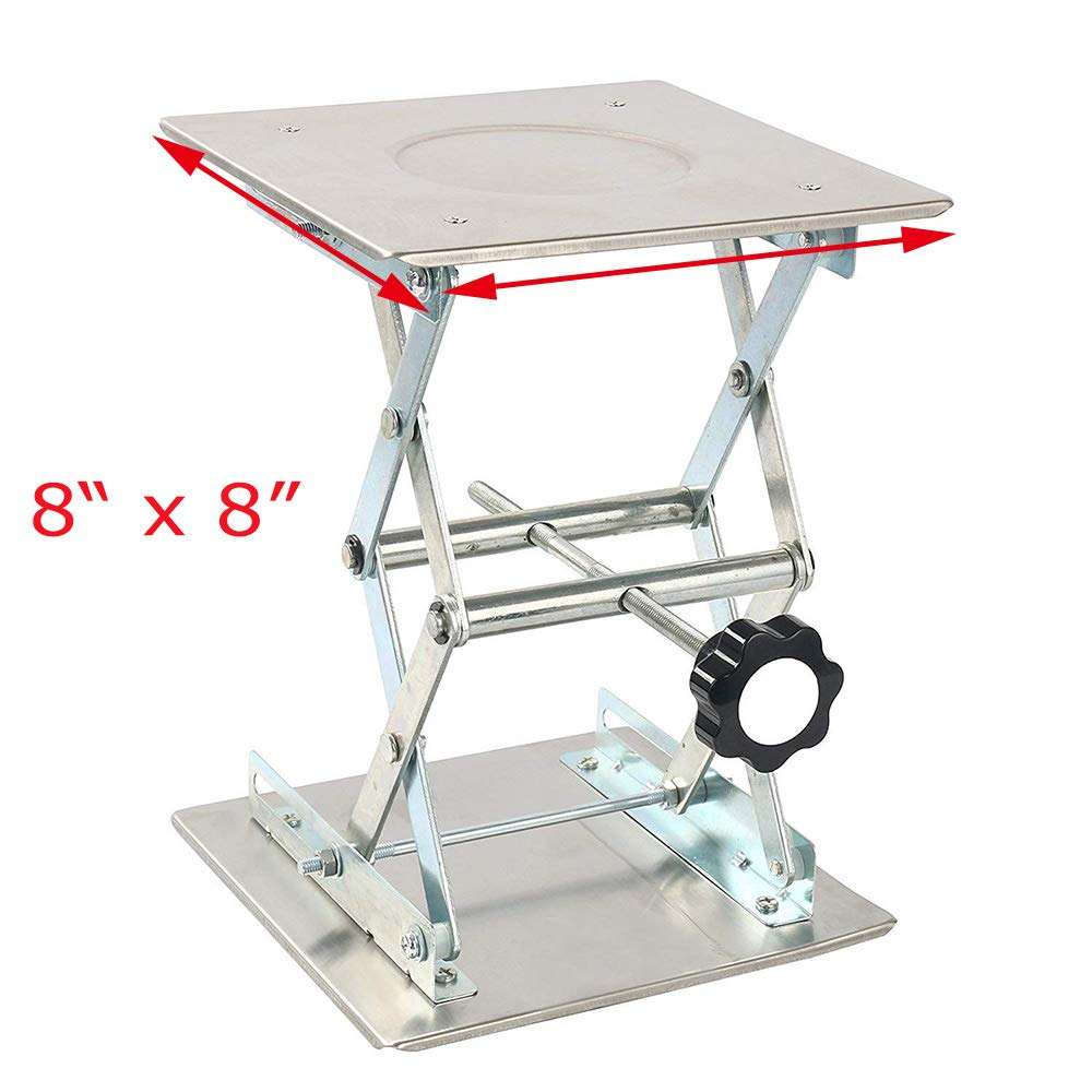 Lab Jack, Lab Lift,Stainless Steel Lab Lifting Platform Stand,Scientific Lab Scissor Lift for Physical, Chemical, Biological Experiments (8'' x 8'')