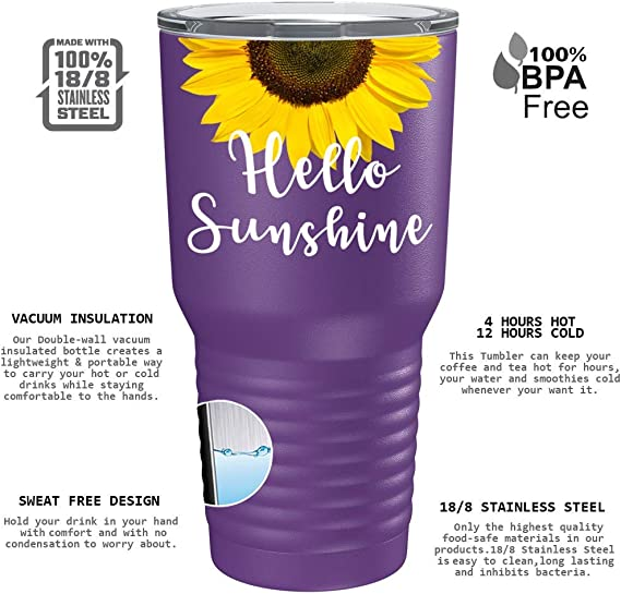 You are my Sunshine purple Sunflower water bottle plastic w//stainless cap 22 0z.