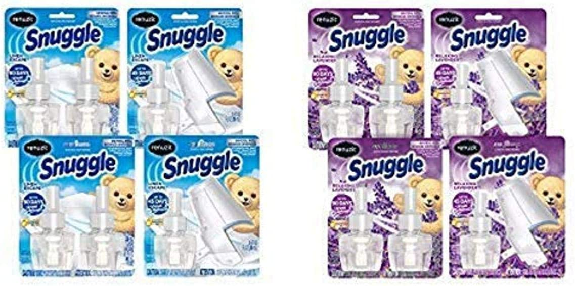 Renuzit Snuggle Scented Oil Plugin Air Freshener, 6 Refills + 2 Warmers, Linen Escape, 6Count and Renuzit Snuggle Scented Oil Plugin Air Freshener, Relaxing Lavender, 6Count, 6 Refills + 2 Warmers