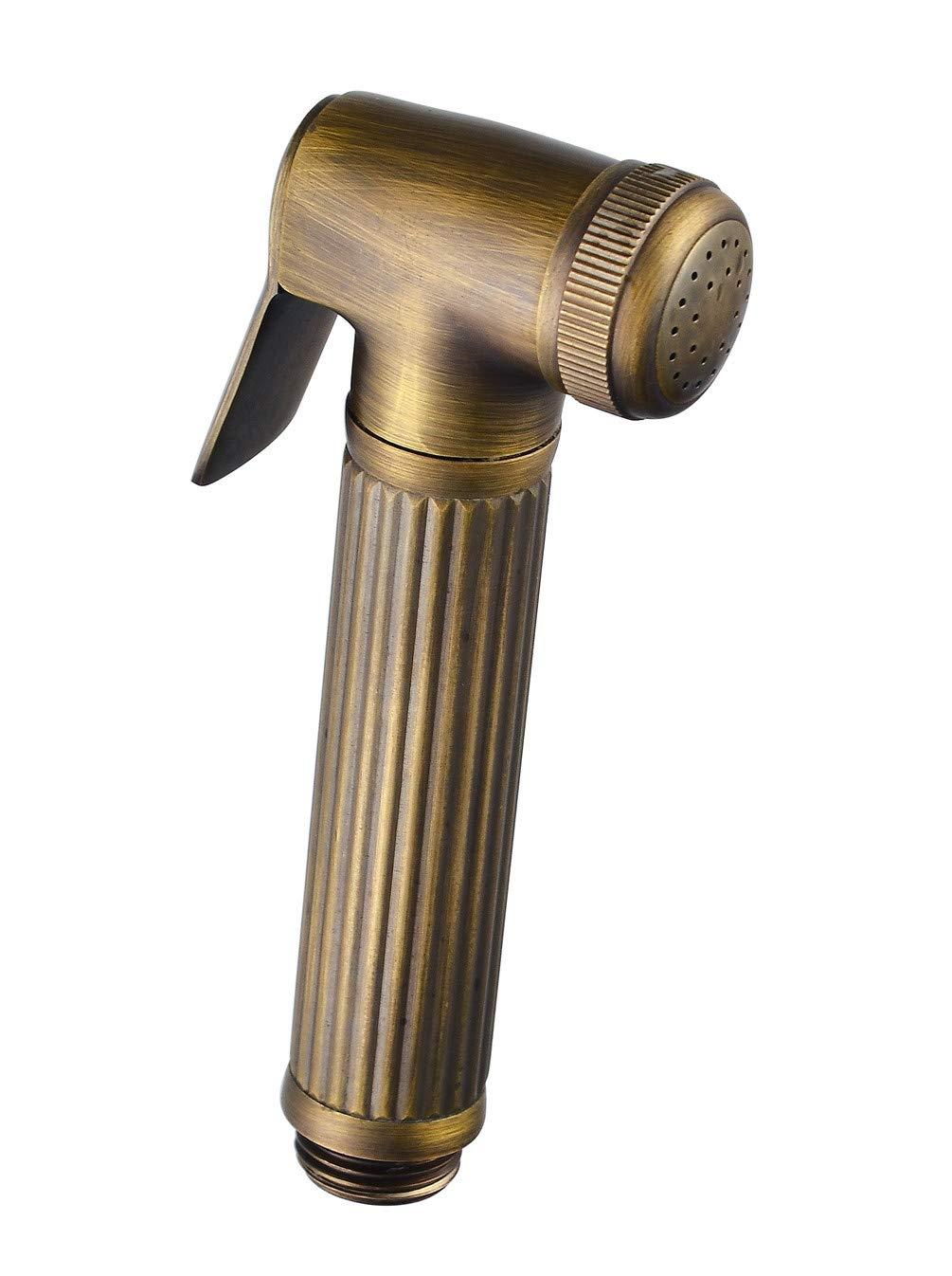 Handheld Bidet Shower Sprayer Head for Toilet Antique Brass Barthroom Cloth Disaper Sprayer Portable Washer Sprayer Gold by MZMULY