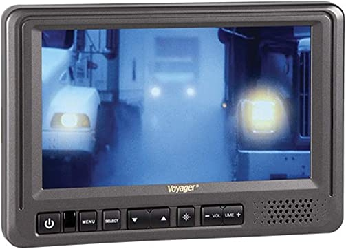 Voyager AOM713 7 Rear View Wide Format LCD Monitor with 3 Camera Inputs, Heavy Duty Color LCD Panel, 12 and 24 Volt Power System, NTSC and PAL Video Signal Compatible, Auto Day Night Brightness Mode