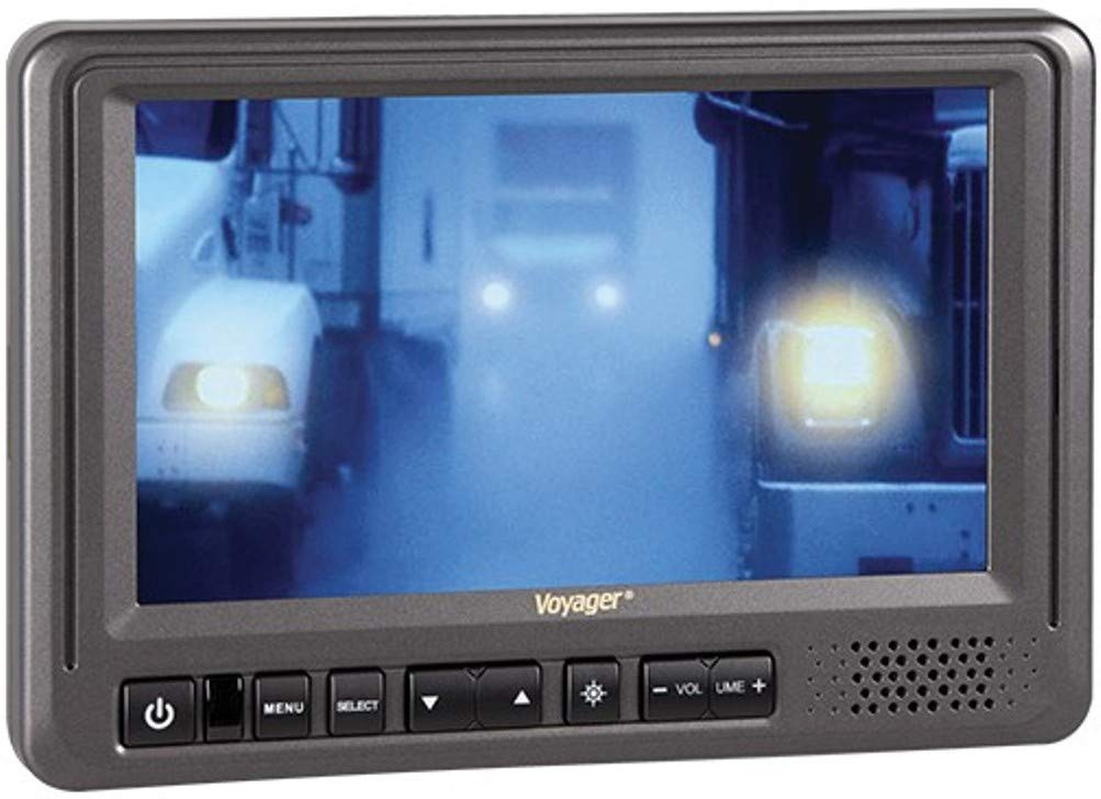 Voyager AOM713 7'' Rear View Wide Format LCD Monitor with 3 Camera Inputs, Heavy Duty Color LCD Panel, 12 and 24 Volt Power System, NTSC and PAL Video Signal Compatible, Auto Day/Night Brightness Mode