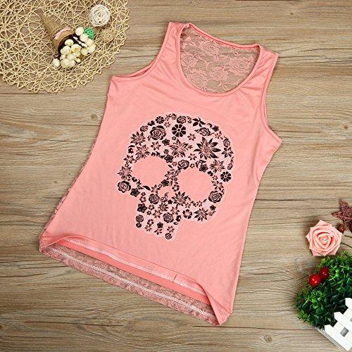 1 Estampada Con Chaleco Mangas Blusa Camis Esmalte Mujer Y Vendaje Pink Top Cuello Confort Camisetas De Bazhahei Estampado Transpirable En Ropa Sin V Bqwz8fxZn