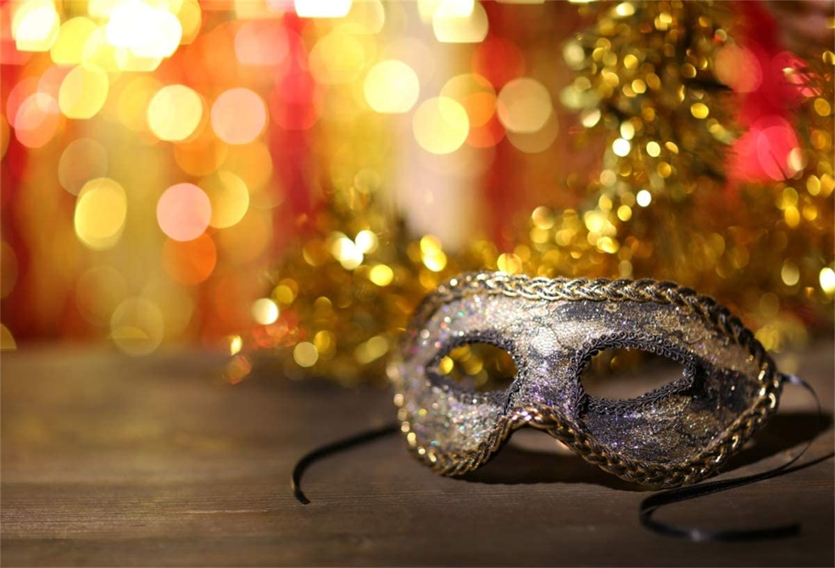 YEELE Masquerade Backdrop 12x8ft Beautiful Carnival Mask Bright Bokeh Photography Background Girls Lady Room Interior Artistic Portrait Carnival New Year Events Photo Booth Photoshoot Props Wallpaper
