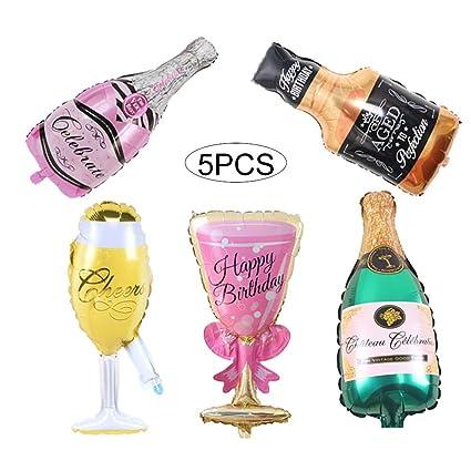 Hilai 5 Botellas de champán Piezas de lámina de Globos Conjunto Gigante Vino Vidrios inflables de