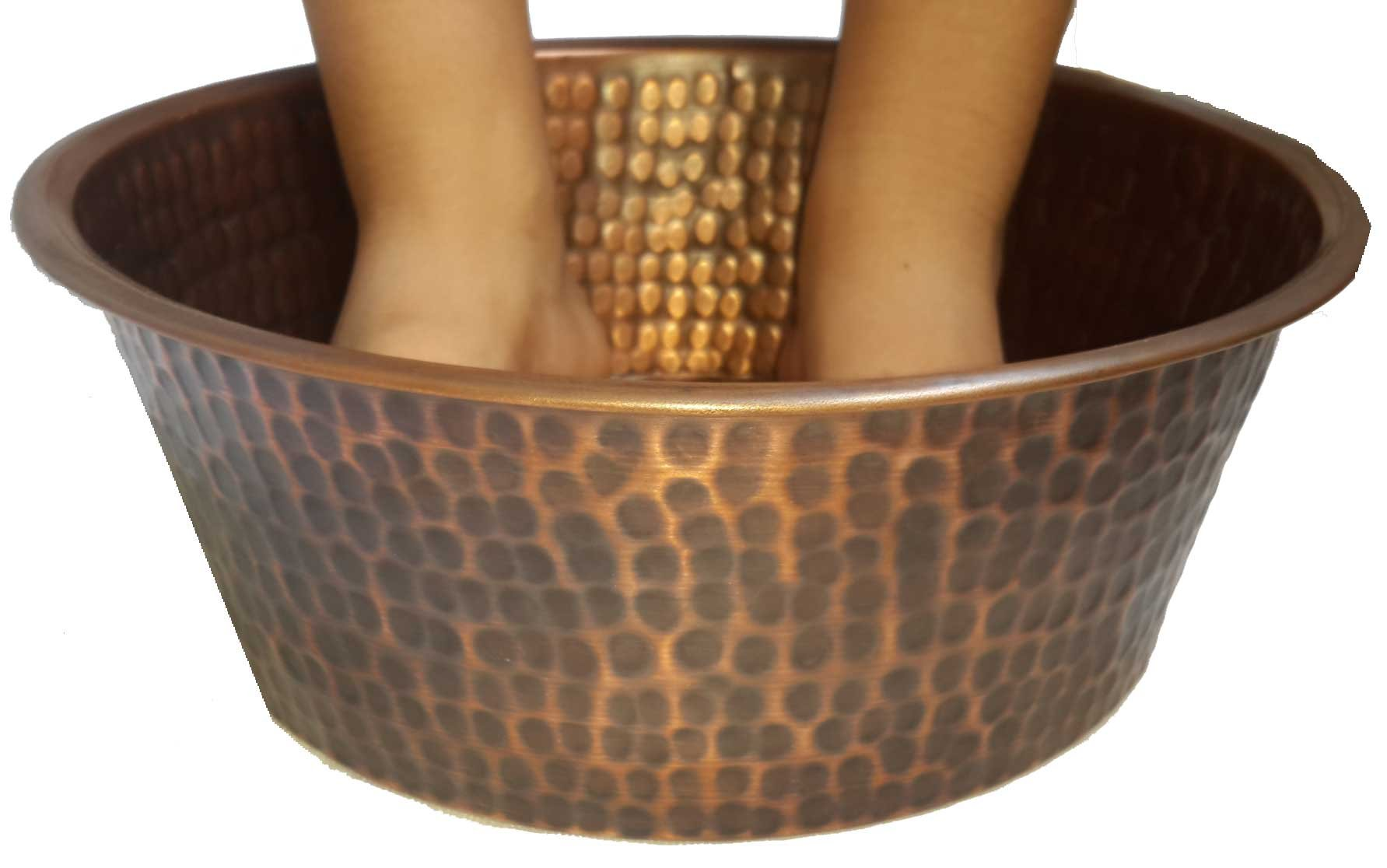 Egypt gift shops SMALL Petite Antique Finish Pedicure Spa Foot Bath Soak Massage Copper Bowl by Egypt gift shops (Image #2)
