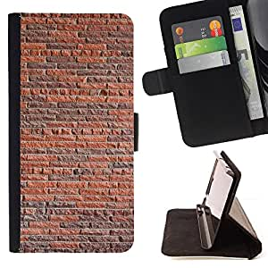 DEVIL CASE - FOR Samsung Galaxy S4 Mini i9190 - Wall Brick Rustic Orange Brown Architecture - Style PU Leather Case Wallet Flip Stand Flap Closure Cover